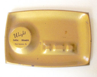 Gold Advertising Ashtray, Vintage Metal Ash Tray from Wright Cadillac and Oldsmobile in West Hazleton, PA