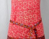 Full Apron, Pink, Brown Polka Dots, Vendor Apron, Florist Apron, Crafter Apron, Gardening Apron
