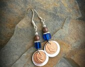 Blue Silver Copper Napoleon Penny Sterling Silver Earrings, Copper Penny Blue Sterling Silver Earrings
