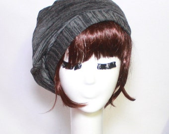 Beret hat -Slouchy Grey Sweater Knit