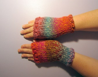 Fingerless Gloves - Orange, Teal, Pink, Mauve Mix Hand Knit Fingerless Gloves
