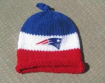 NEW ENGLAND PATRIOTS Hand Knit Baby Hat - Boston Baby Hat - Hand Knitted Baby Hat