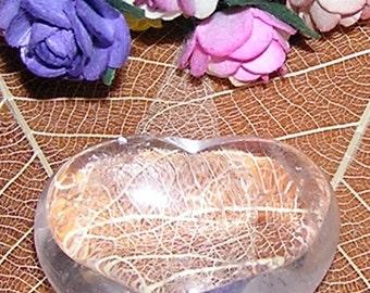 Clear Quartz Solid Gemstone Crystal Puffy Heart - 30mm Diameter