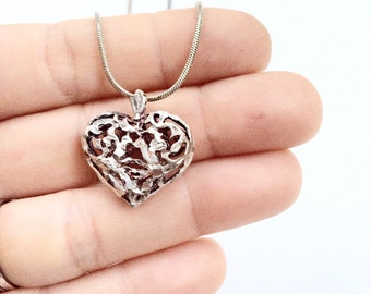 sterling puffy heart necklace sterling silver pendant and chain necklace silver 925
