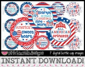"""Land That I Love - cute 4th of July sayings - INSTANT DOWNLOAD 1"""" Bottle Cap Images 4x6 - 676"""