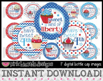 """Sweet Freedom - 4th of July cupcakes and sayings - INSTANT DOWNLOAD 1"""" Bottle Cap Images 4x6 - 679"""