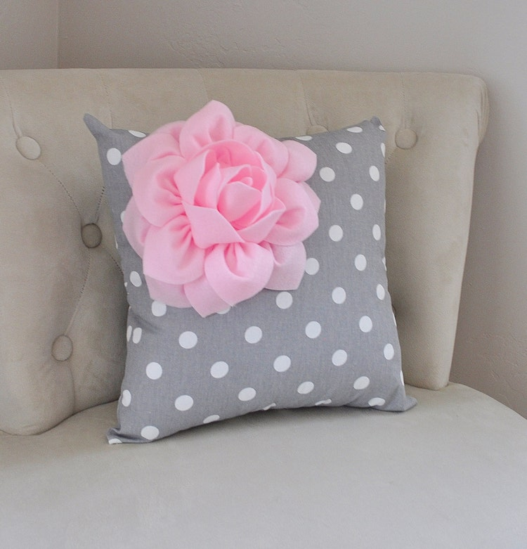 Light Pink Decorative Pillow : Decorative Pillow Light Pink Corner Dahlia on Gray and by bedbuggs