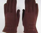 6-1/2-Vintage Brown Dress/Church/prom Gloves w/decoration - 7-1/4 inches long(566g)