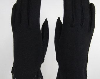 7-Vintage Short Black Dress/Prom/Church Gloves w/rhinestones - 8-1/2 inches long(796g)