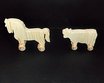 Handcrafted Wood Cow and Horse on Wheels PK-1 unfinished or finished