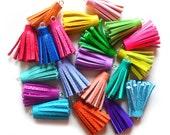 2 Inch - Handmade Tassels, Leather Tassels, Tassel Jewelry Supply, Rainbow Colors, Jewelry Making Supplies, Crafting Supply