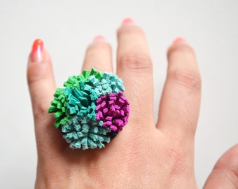 Succulent Plant Leather Ring, Modern Statement Ring, Fuchsia Teal and Green Pom Pom Adjustable Brass Ring