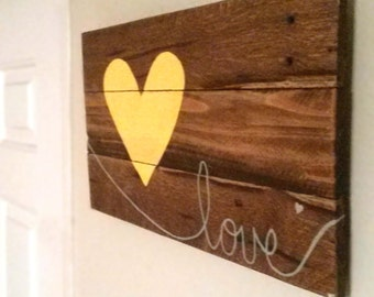 Yellow Heart Love Wall Hanging | Reclaimed Wood Sign