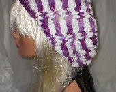 Crochet Women's Variegated Purple White Chenille Slouchy Hat Beret Slouch Hat