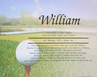 CHILDS PERSONALIZED  GOLF Gift First Name Meaning Golf Print Boy or Girl  8.5 X 11 Ships Free in 24hrs