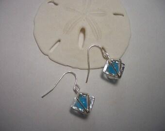 Silver earrings, lake blue, sparkling cats eye beads, hypoallergenic, dangle earrings, nickel free, short earrings, wire cages, silver
