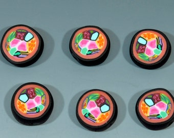 Six Polymer Clay Beads in Multi-Color