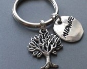 Midwife Handstamped Keyring with Tree of Life Charm