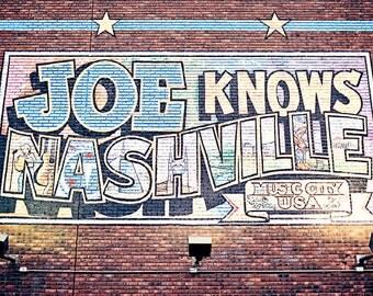 Nashville wall art, Nashville TN sign, Joe Knows Nashville sign photography, Industrial wall art, Tennessee wall decor, city photography