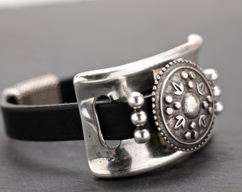 Artisan Bracelet , Leather Bracelet , Silver Bracelet , Chunky Bangle , Leather Cuff , Silver Cuff , Statement Cuff , Amy Fine Design