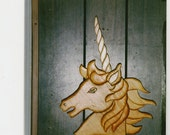 Handmade custom stained 3D unicorn plaque with horn