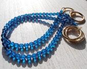 SET OF 2 decorative blue navy curtain tiebacks, Bohemian crytals, drapery holder,  tie backs curtain