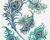 Proud Peacock Feather Collage Embroidered Cotton Kitchen Dish Towel