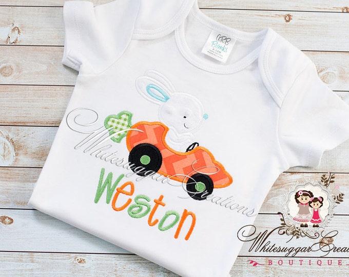 Boy Bunny Carrot Car Easter Shirt, Bunny Personalized shirt, Boys Easter Shirt, Bunny Shirt, Boys Easter Outfit, Carrot Car Shirt