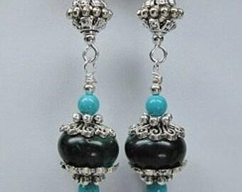 DANGLE DROP EARRINGS / Howlite Turquoise Earrings / Statement Earrings / Western Southwest Drop Earrings - MaVeRiCk DRoPs