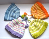 Hand knit  baby hat Newborn pom pom hat  cotton balloons hats twins boys  girls Infant hats coming home   ready to ship Perfect photo prop