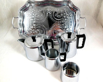 Vintage Modern Chrome Tea and Coffee Service Swan Brand from England Teapot, Coffeepot, Cream&Sugar, Tray