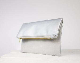 Silver clutch, silver fold over purse | bridesmaid silver bag