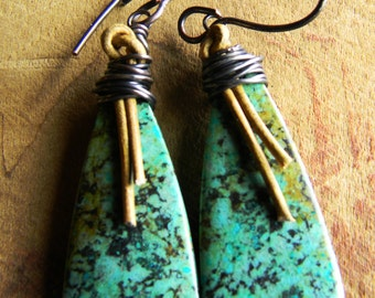 African Turquoise Earrings Leather Rustic Copper Southwestern Jewelry