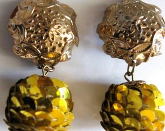 Vintage 60's Golden Disco Ball Clip On Earrings Just Plain Fun
