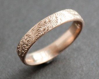 14K Solid ROSE Gold Feather Pattern Ring  - Wedding Band - Made to Order - Art Deco - Art Nouveau