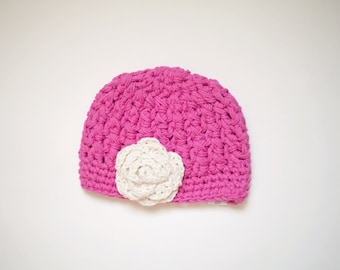 SALE - Crochet Girl's Beanie in Hot Pink Cotton - Baby Girl Hat, Crochet Hats for Girl, 6 to 12 Months - Ready to Ship