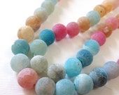 """Colorful Beads - Agate Round Beads - Frosted Matte - Crackle Vein Agate - Weathering Gemstone Beads - 8mm -  15"""" Strand - Jewelry Making"""