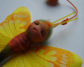 ooak Yellow butterfly hanging decor - sculpted, fairy, doll, spring