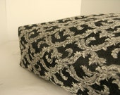 Dog Bed Cover  Black and White Scroll Upholstery Fabric 24 x 30