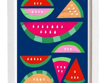 """Watermelon Blue Paradise print  / 1""""x15"""" - archival fine art giclée print"""