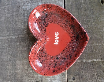 love - Red Heart Trinket Dish - Hand Painted Ceramic Catch All Dish - Red, Black, White Splatters - Valentine's Day Decor