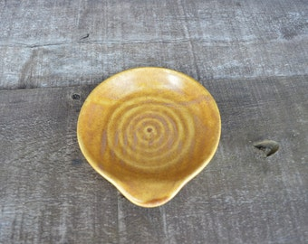 Earth Tone Ceramic Spoon Rest - Hand Thrown Style - Iron Moss