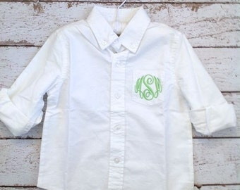 Monogrammed Button Down Oxford Shirt For Flower Girl Toddler Size