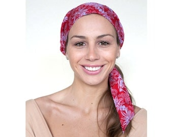 Red Headscarf, Pre Tied Headwrap, Hair Wrap, Women's Hair Accessory, Head Tie Scarf in Silk