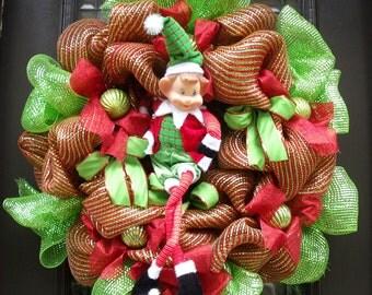 Elf Wreath, Christmas Deco Mesh Wreath, Mesh Christmas Wreath, Red and Lime Mesh Wreaths, Kids Front Door Wreath