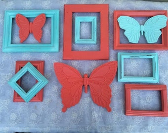 Frame Collection Coral Aqua Butterfly Set
