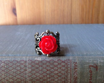 Red Rose Adjustable Filigree Ring