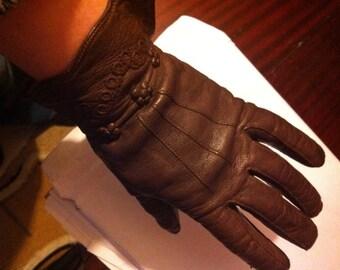 Sale Vintage 50s 60s Brown Leather Ladies Gloves