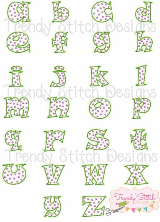 Double dot font machine embroidery design instant download bx