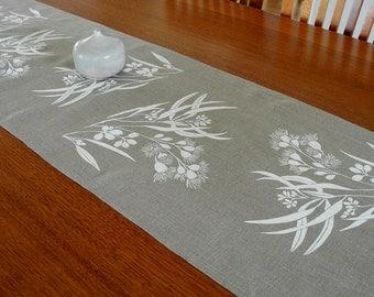 Linen Table Runner Hand Screen Printed White&Natural Australian Eucalypt